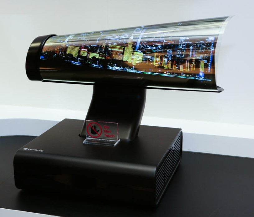 It's a far cry from the tube TV, but you can roll it up into a tube.